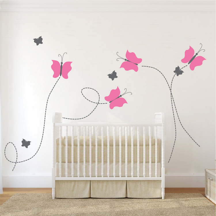 nursery butterfly wall decal _ removable wall decals _ girls wall