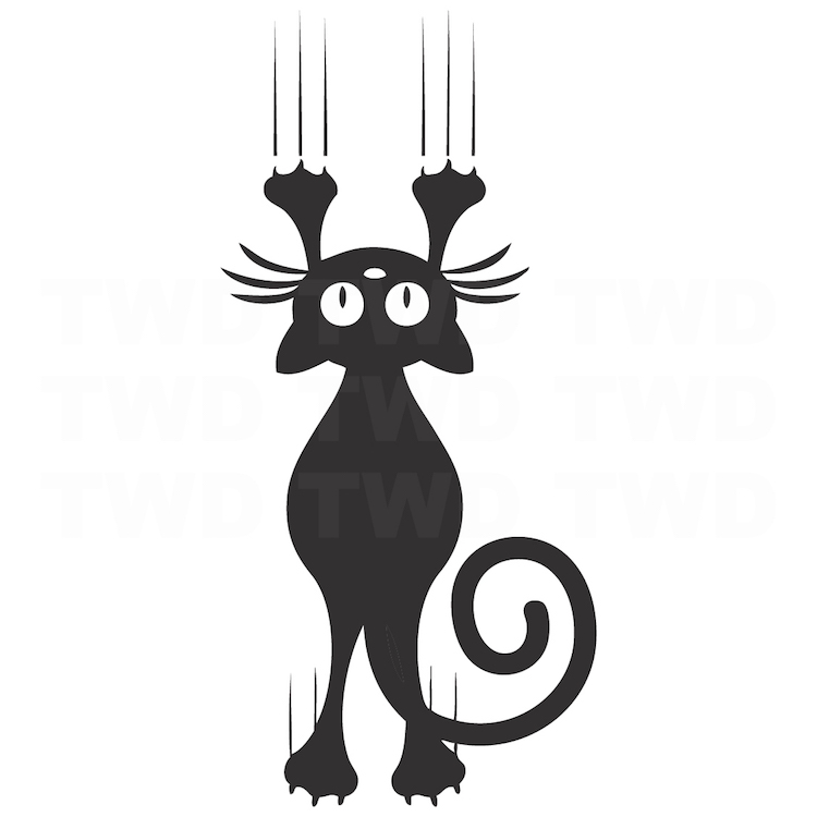 Cat Scratching Wall Decal Sticker Cat Vinyl Vector Mural