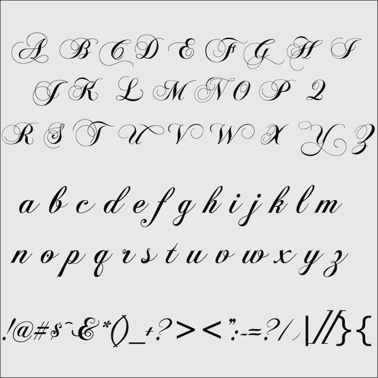 Customizable Chopin Script Font Letters. Zoom