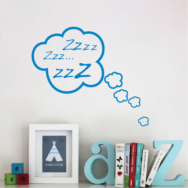 snoozing cloud bedroom decal | zzz sticker murals | kids cloud