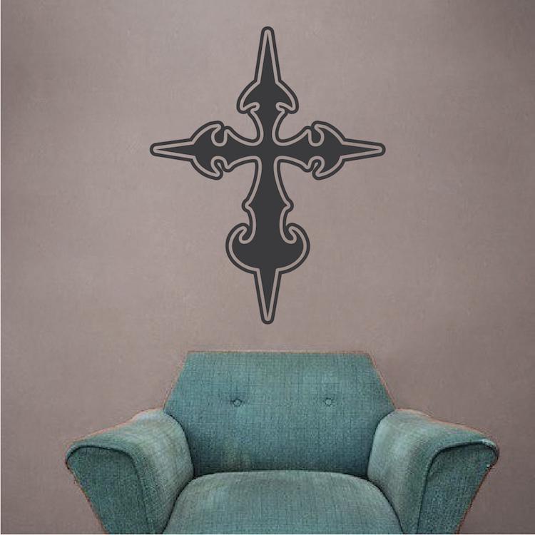 stylish cross wall decal - large cross - trendy wall designs