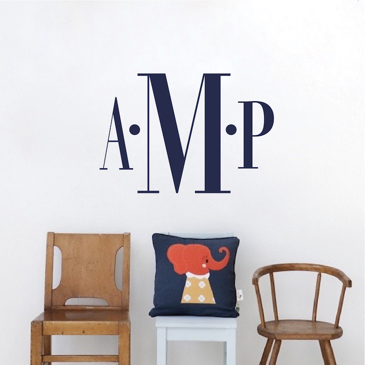 bedroom monogram wall decal _ kids room custom name initials _