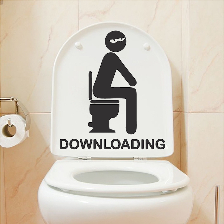 Funny Toilet Peek Sign Sticker: Downloading Bathroom Decal Sticker _ Restroom Wall And
