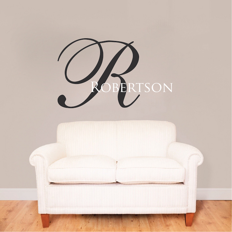 big initial name wall decal | custom interior home family name
