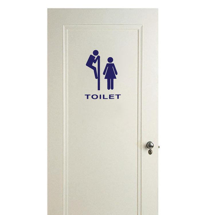 Stylish Bathroom Door Sign Self Adhesive Vinyl Sticker Decal wash room