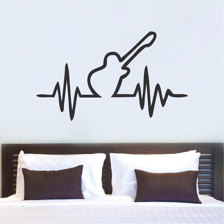 guitar beat bedroom decal sticker | music vinyl stickers | guitar