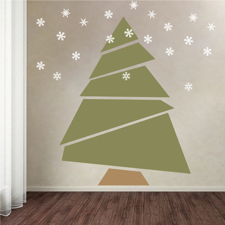 Paper Tree Mural Decal Christmas Tree Decals Self