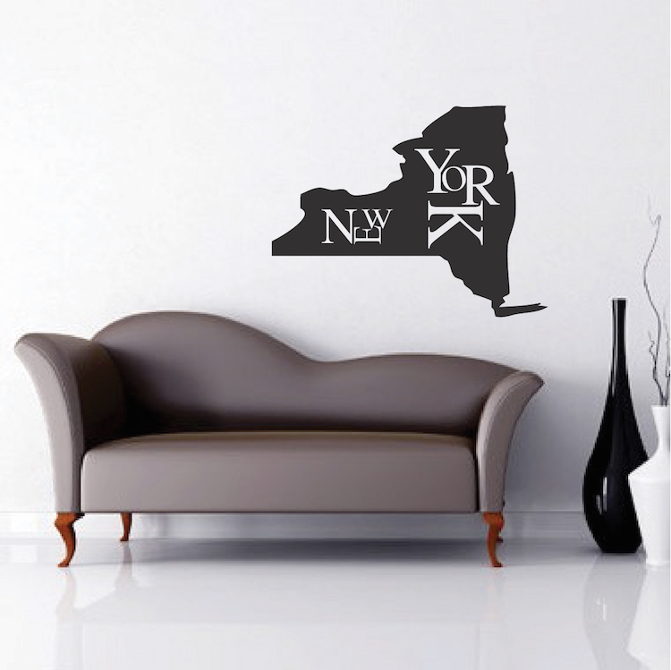 new york state wall decal decor _ modern new york wall lettering