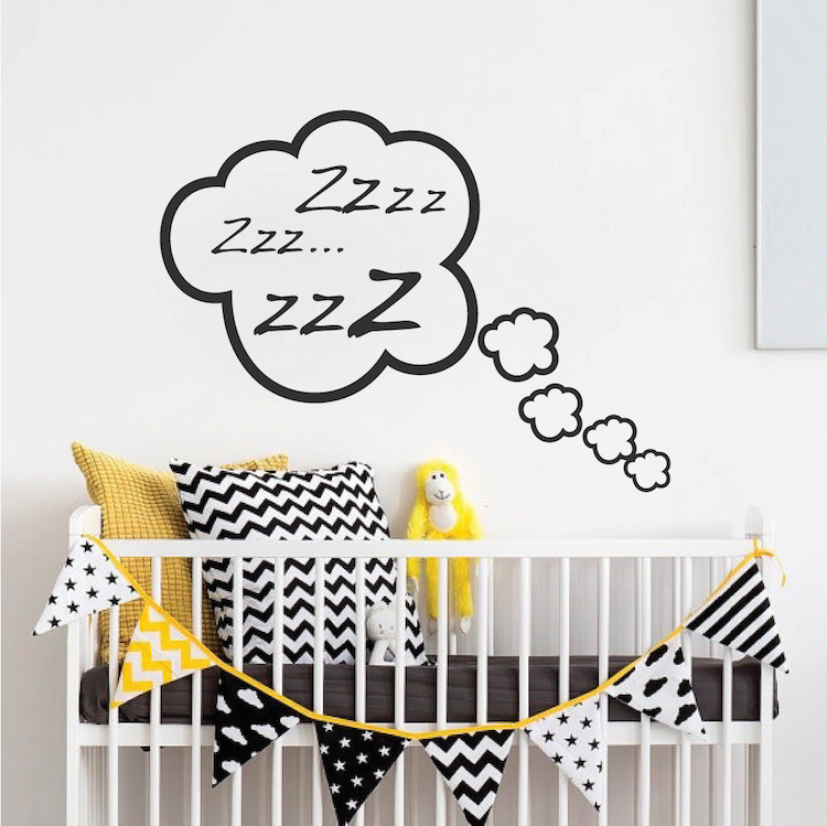 snoozing cloud bedroom decal | zzz sticker murals | kids cloud