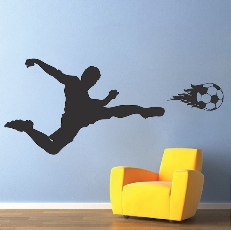 soccer flame wall decal | sport mual stickers | trendy wall designs