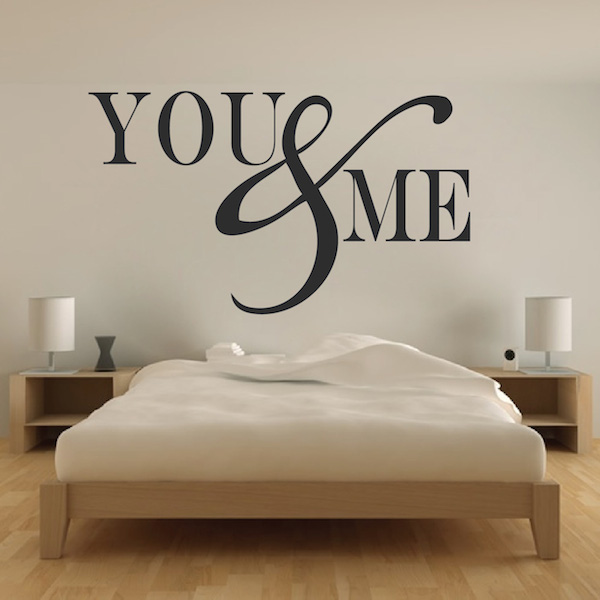 romantic bedroom wall decal - vinyl mural sticker - you and me