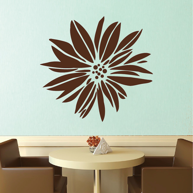 Pindia Black Flower Design Wall Sticker: Exotic Flower Wall Decal & Floral Wall Art From Trendy