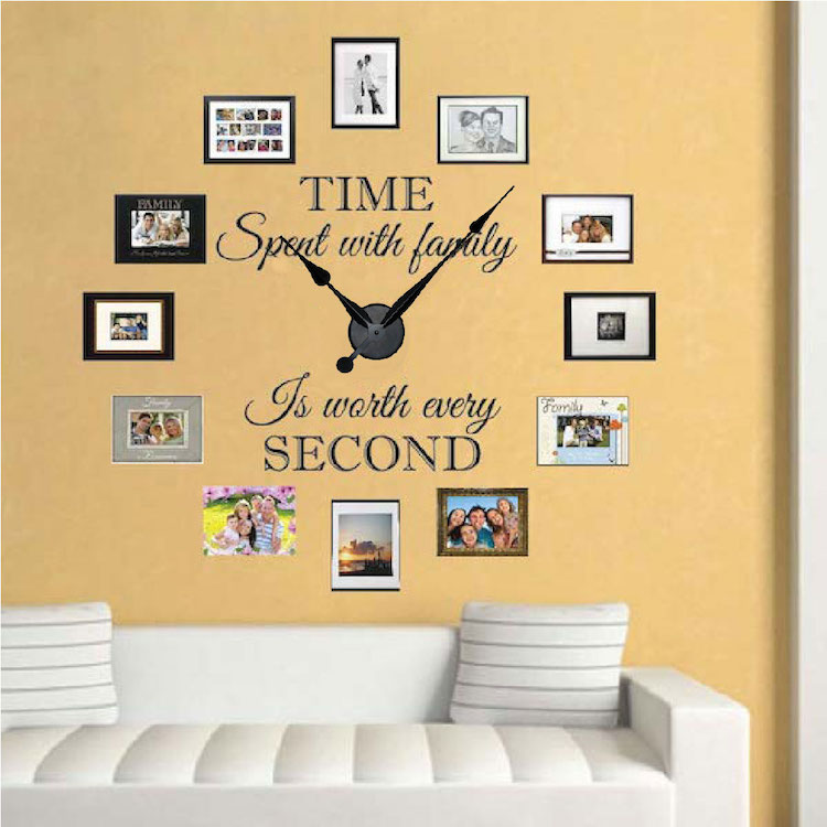 real family clock wall decal _ clock stickers for walls _ trendy