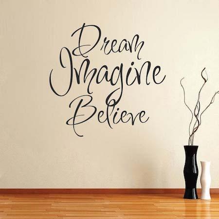 dream imagine believe wall art design trendy wall designs