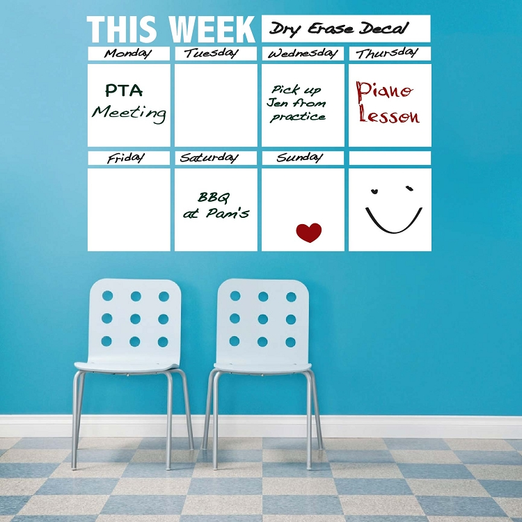 Dry Erase Calendar Decal For Walls, White Board Stickers Trendy