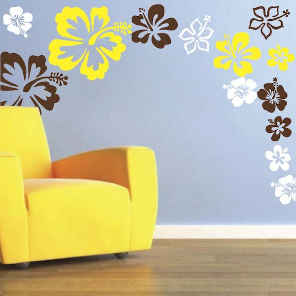 hibiscus flowers wall decal - trendy wall designs