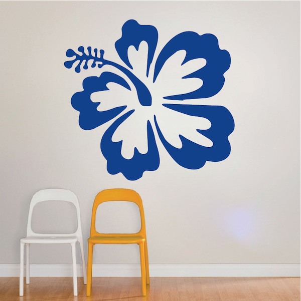 big hibiscus wall sticker - trendy wall designs