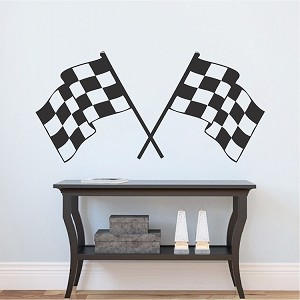 Racing Flags Boys Room Decal Sticker