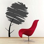 Water Brush Tree Wall Art Design