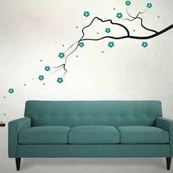 Elegant Flower Branch Wall Decal