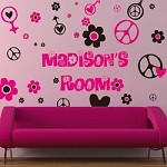 Hippie Girl Wall Decals