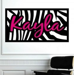 Zebra Background/Name Wall Decal