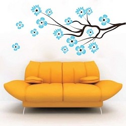 Modern Flower Branch Wall Decal