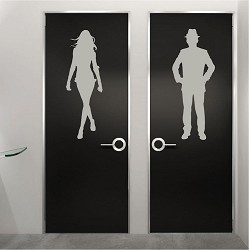Modern Bathroom Door Wall Decals