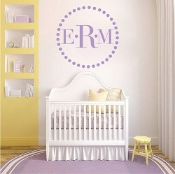 Dotted Monogram Vinyl Wall Decal