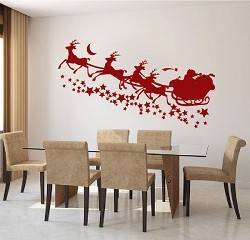 Santa's Sleigh with Stars Wall Decal