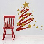 Modern Christmas Tree and Stars Wall Decal