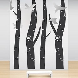 Birch Tree Trunk Wall Designs
