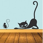 Cat Chasing Mouse Decal Mural