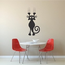Cat Scratching Wall Decal Sticker