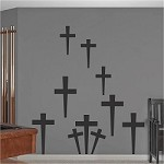 Halloween Peel and Stick Graveyard Cross Decals